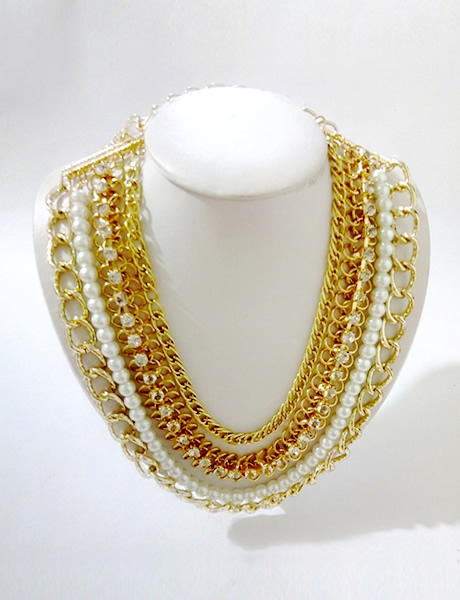 Collar Cadenas y Perlas